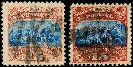 15 C. Rotbraun/blau, Type I (gepr. Bühler) Und II, Je Tadellos, Gestempelt (Scott:118/19), Katalog: 32I,II... - Unclassified
