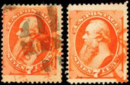 7 C. Orangerot, Mit U. Ohne Geheimzeichen, übliche Zähnung Mit Kleinen Mängeln, Gestempelt, Gepr.... - Unclassified