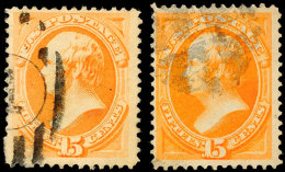 15 C. Rotorange, Papier X Und V, Je Gestempelt, Gepr. Jakubek BPP, Katalog: 43IIx,v O15 C. Red Orange, Paper X... - Unclassified