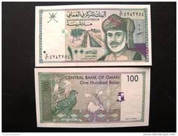 UNC Banknote From Oman 100 Baisa 31 1995 $4 In Catalogue, Sultan Animals Bird Eagle Oryx Irrigation System - Oman