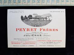 Ancienne Carte De Visite, Vins Peyret Freres, Julienas , Vers 1910 - Visitenkarten