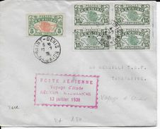 """REUNION - 1938 - ENVELOPPE Par AVION De SAINT-DENIS """"POSTE AERIENNE VOYAGE D'ETUDE REUNION MADAGASCAR"""" => TANANARIVE - Réunion (1852-1975)"""