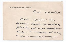 AUTOGRAPHE Du MARECHAL JUIN Sur CARTE DE VISITE - Autographes
