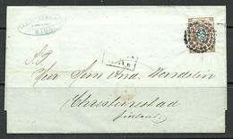 "LATVIA Lettland 1863 RIGA Numeral Dot Cancel (""38"") Auf Michel 5 Brief Nach Finland 1863 - Lettonie"