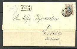 "LATVIA Lettland 1861 RIGA Numeral Dot Cancel (""38"") Auf Michel 5 Brief Nach Finland Lovisa - Lettonie"