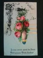Carte Celluloïde - 1er Avril, Je Vous Envoie Parmi Les Fleurs Petit Poisson Porte-bonheur - Autres