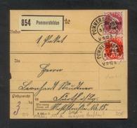 DR 1920, Inflation, Paketkarte, Mi. # 125 PF XI, 127.  Gebrauchsspuren. Aufdruckfehler: 125 PF XI Fetter Aufdruck. - Oblitérés