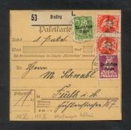DR 1920, Inflation, Paketkarte, Mi. # 119, 122 PF XI, 125 PF X (2x) .  Gebrauchsspuren. Aufdruckfehler: 122 PF XI Fetter - Oblitérés