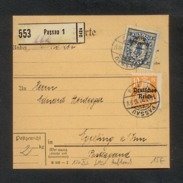 DR 1920, Inflation, Paketkarte, Mi. # 120 PF XI, 130.  Gebrauchsspuren. Aufdruckfehler: 120 PF XI Fetter Aufdruck. - Oblitérés