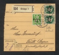 DR 1920, Inflation, Paketkarte, Mi. # . 119, 126 PF XI (2x).  Aufdruckfehler: 126 PF XI Fetter Aufdruck. - Oblitérés