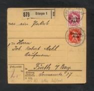 DR 1920, Inflation, Paketkarte, Mi. #125 PF X, 127 PF XI.   Aufdruckfehler: 125 PF X Magerer Aufdruck, 127 PF XI Fetter - Oblitérés