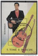 Bf. 362 S. Tome E Principe 1996 Musica Movie Star Show Elvis Presley -Rockabilly - Rock And Roll Guitar - Cantanti