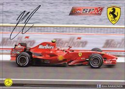 Grand Prix/F1 2007  -  Kimi Raikkonen -  Ferrari F1-2007   -  Carte Promo (signée) - Grand Prix / F1