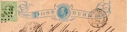 1888 Fragment Van  Postblad G1 Bijgefrankeerd Met NVPH 24 Van Rotterdam Met Puntstempel 91  Via Trein Valenciennes A Par - Postal Stationery