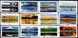 Oblitération Moderne Sur Autoadhésif De France N° 1360 à 1371 - Paysages Du Monde (12 Timbres) - Adhesive Stamps