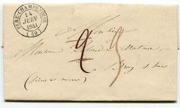 MARNE De FERE CHAMPENOISE LAC Du 14/06/1841 Avec Dateur T 14 Taxe De 2 Rectiifée 3 Pour BRAY SUR SEINE - Postmark Collection (Covers)