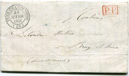 MARNE De FERE CHAMPENOISE LAC Du 23/03/1841 Avec Dateur T 14 + Cachet P.P. Rouge + Verso Taxe De 3 - Postmark Collection (Covers)