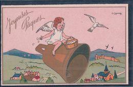 Joyeuses Pâques, Angelots, Cloche, Oeufs Et Oiseaux, Litho (17021) - Ostern