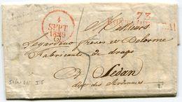 SEINE ET MARNE De FONTAINEBLEUA LAC Du 04/09/1829 Avec Linéaire Rouge + Dateur A Rouge Taxée 5 Pour SEDAN - Storia Postale