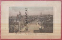 80 - MONTDIDIER--Place De L'Hotel De Ville Et Rue Saint Pierre--belle Carte Bateau Colorisée - Montdidier