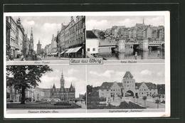 AK Elbing / Elblag, Alter Markt, Friedrich Wilhelm-Platz, Hohe Brücke, Jugendherberge Turmhaus - Westpreussen