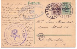 Belgique Carte Postale N° 9 Oblitérée Lessines 1916 - Censure De Ath - Entiers Postaux