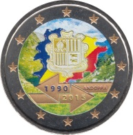 Andorra 2015 2 Euros Conmemorativos  25º Av. Acuerdo Aduanero Color - Coins