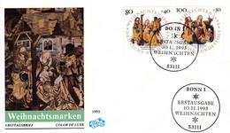 Deutschland BRD: 1993  FDC  Weihnachten . Mi:  1707 + 1708 - Noël