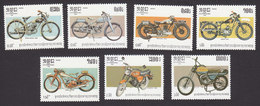 Cambodia, Scott #560-566, Mint Hinged, Motorcycles, Issued 1985 - Cambodja