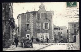 CPA FRANCE- COLOMBIERS (34)- PLACE DE LA MAIRIE EN HIVER- ANIMATION- TACOT GROS PLAN- MARCHAND AMBULANT- LIEVRES ? - Francia