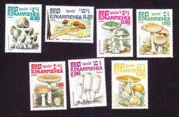 Cambodia, Scott #568-574, Mint Hinged, Mushrooms, Issued 1985 - Cambodja