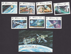 Cambodia, Scott #575-582, Mint Hinged, Soviet Space Program, Issued 1985 - Cambodia