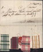 Belgique Lettre De 1764 Namur Pour St Etienne Taxe Manuscrite 21 A L'intérieur 4 échantillons Ruban Passementerie Tissus - 1714-1794 (Oostenrijkse Nederlanden)