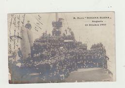 "REGIA NAVE ""REGINA ELENA"" CARTOLINA VIAGGIATA 1908 - MARINA POSTCARD - Uniformi"