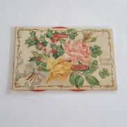 Carte à Système Et Gaufrée - Roses - Bonne Année - Carte Décollée En Deux - A Systèmes
