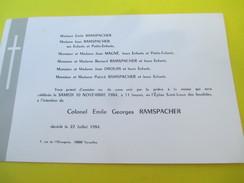 Faire-part De Décés/Colonel Emile Georges RAMSPACHER/Eglise Saint-Louis Des Invalides / Paris/Versailles/ 1984    FPD110 - Avvisi Di Necrologio