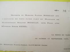 Faire-part De Mariage/Suzanne Moreau - Roger Gebel/Eglise Saint Denys De L'Estrée/Saint Denis/Seine/Pantin/1949    FPM37 - Boda