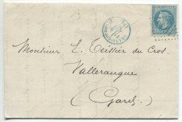 N°29  + GC Bleu 1694   / Lettre  De Grand-Couronne (seine Inférieure) Pour Vallerauque (gard) - 1863-1870 Napoleon III With Laurels