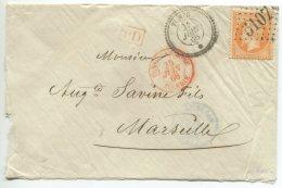 N°23  + GC 5107 + Cachet Perlé De Tunis/lettre Pour Marseille - 1862 Napoleon III