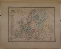 CARTE GEOGRAPHIQUE ANCIENNE: EUROPE En 1100 Indiquant La Date De La Fondation Des Differents Etats (garantie Authentique - Cartes Géographiques