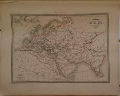 CARTE GEOGRAPHIQUE ANCIENNE: Géographie Du MOYEN AGE Principalement Au IX Eme Siecle (garantie Authentique. Epoque 19 Em - Cartes Géographiques