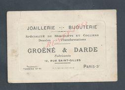 CDV CARTE DE VISITE GROENE & DARDE JOAILLERIE BIJOUTERIE À PARIS RUE SAINT GILLES : - Cartes De Visite