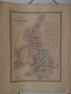 CARTE GEOGRAPHIQUE ANCIENNE: ILES BRITANNIQUES Carte Physique Et Mineralogique (garantie Authentique. Epoque 19 Eme Siec - Cartes Géographiques