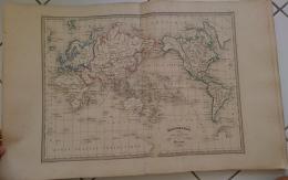 CARTE GEOGRAPHIQUE ANCIENNE: MAPPEMONDE Suivant La Projection De MERCATOR (garantie Authentique. Epoque 19 Eme Siecle) - Geographical Maps