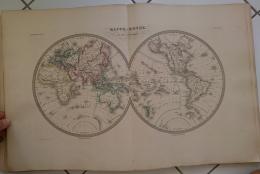 CARTE GEOGRAPHIQUE ANCIENNE: MAPPEMONDE En Deux Hemisphères (garantie Authentique. Epoque 19 Eme Siecle) - Cartes Géographiques