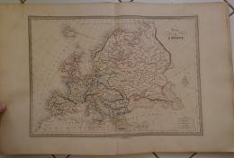 CARTE GEOGRAPHIQUE ANCIENNE: CARTE DE L'EUROPE (garantie Authentique. Epoque 19 Eme Siecle) - Cartes Géographiques
