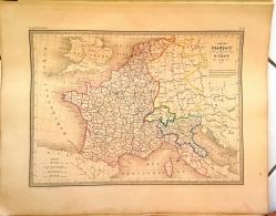 CARTE GEOGRAPHIQUE ANCIENNE: EMPIRE FRANçAIS Et ROYAUME D'ITALIE En 1812 (garantie Authentique. Epoque 19 Eme Siecle) - Cartes Géographiques