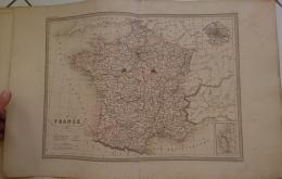 CARTE GEOGRAPHIQUE ANCIENNE: Carte De FRANCE (garantie Authentique. Epoque 19 Eme Siecle) - Cartes Géographiques