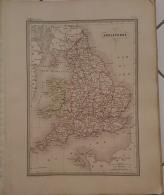 CARTE GEOGRAPHIQUE ANCIENNE: ANGLETERRE (garantie Authentique. Epoque 19 Eme Siecle) - Cartes Géographiques
