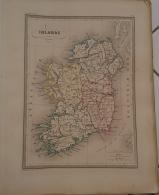 CARTE GEOGRAPHIQUE ANCIENNE: IRLANDE (garantie Authentique. Epoque 19 Eme Siecle) - Cartes Géographiques